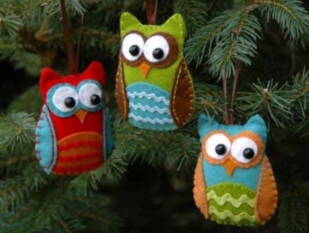 Новогодние игрушки из фетра - фото