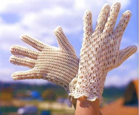 Кружевные перчатки связанные крючком (схема + описание)