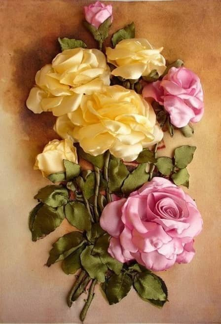 Розы из атласной ленты своими руками