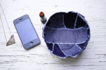 Емкость для хранения мелочей из джинсовой ткани