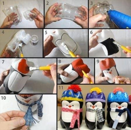 Пингвины из пластиковых бутылок своими руками