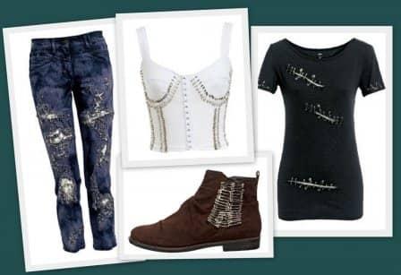 Украшение одежды английскими булавками