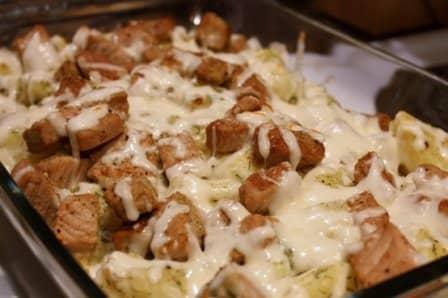 Сырная запеканка с картофелем и мясом