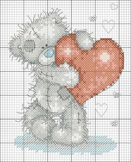 Мишка Тедди - схемы вышивки крестом
